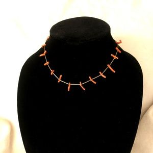 Silver and coral choker from the 70s